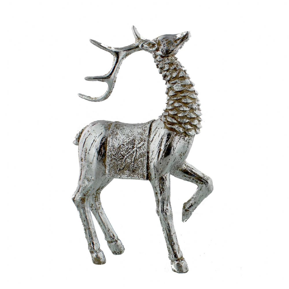 Reindeer Figurine Resin Hand Painted Silver Deer Christmas